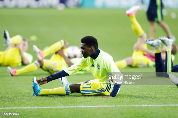 Joel Asoro of Sweden warming up ahead of the UEFA European Under21 match between Slovakia and Sweden at Arena Lublin on June 22 2017 in Lublin Poland