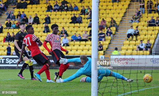 Joel Asoro Sunderland scores the second goal during a preseason friendly match between Livingston FC and Sunderland AFC at the Almondvale Stadium on...