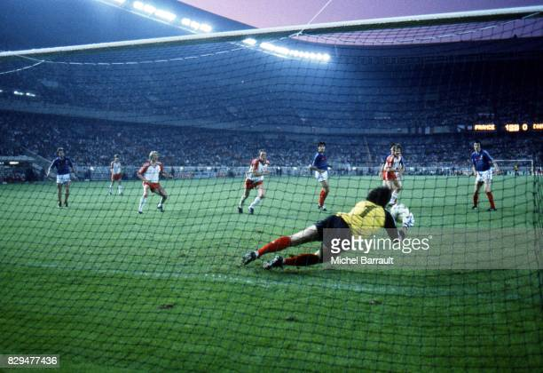 Joel Bats of Tigana during the European Championship match between France and Denmark at Parc des Princes Paris France on 12th June 1984