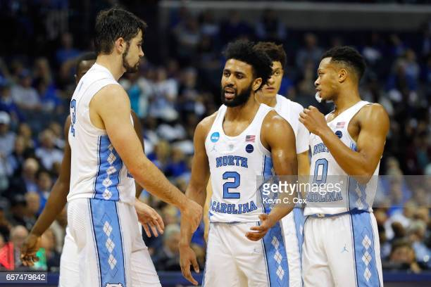 Joel Berry II of the North Carolina Tar Heels celebrates with teammates late in the game against the Butler Bulldogs during the 2017 NCAA Men's...