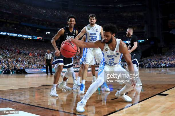 Joel Berry II of the North Carolina Tar Heels controls a loose ball in the first half against the Gonzaga Bulldogs during the 2017 NCAA Men's Final...