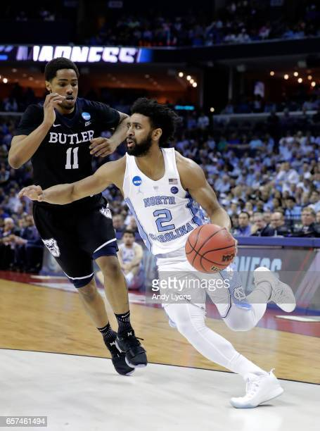 Joel Berry II of the North Carolina Tar Heels drives to the basket against Kethan Savage of the Butler Bulldogs in the first half during the 2017...