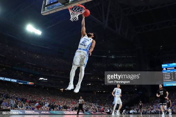 Joel Berry II of the North Carolina Tar Heels goes up for a dunk in the second half against the Gonzaga Bulldogs during the 2017 NCAA Men's Final...