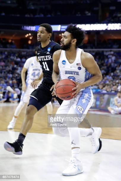 Joel Berry II of the North Carolina Tar Heels handles the ball against Kethan Savage of the Butler Bulldogs in the first half during the 2017 NCAA...