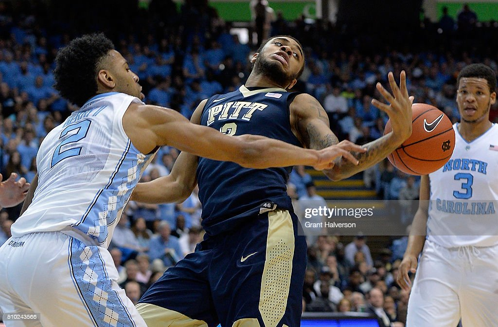 Joel Berry II #2 of the North Carolina Tar Heels knocks the ball away from Michael Young #2 of the Pittsburgh Panthers during their game at the Dean Smith Center on February 14, 2016 in Chapel Hill, North Carolina.