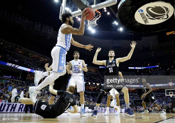 Joel Berry II of the North Carolina Tar Heels looks to pass in the first half against the Butler Bulldogs during the 2017 NCAA Men's Basketball...