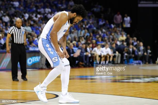 Joel Berry II of the North Carolina Tar Heels reacts after a play in the second half against the Butler Bulldogs during the 2017 NCAA Men's...