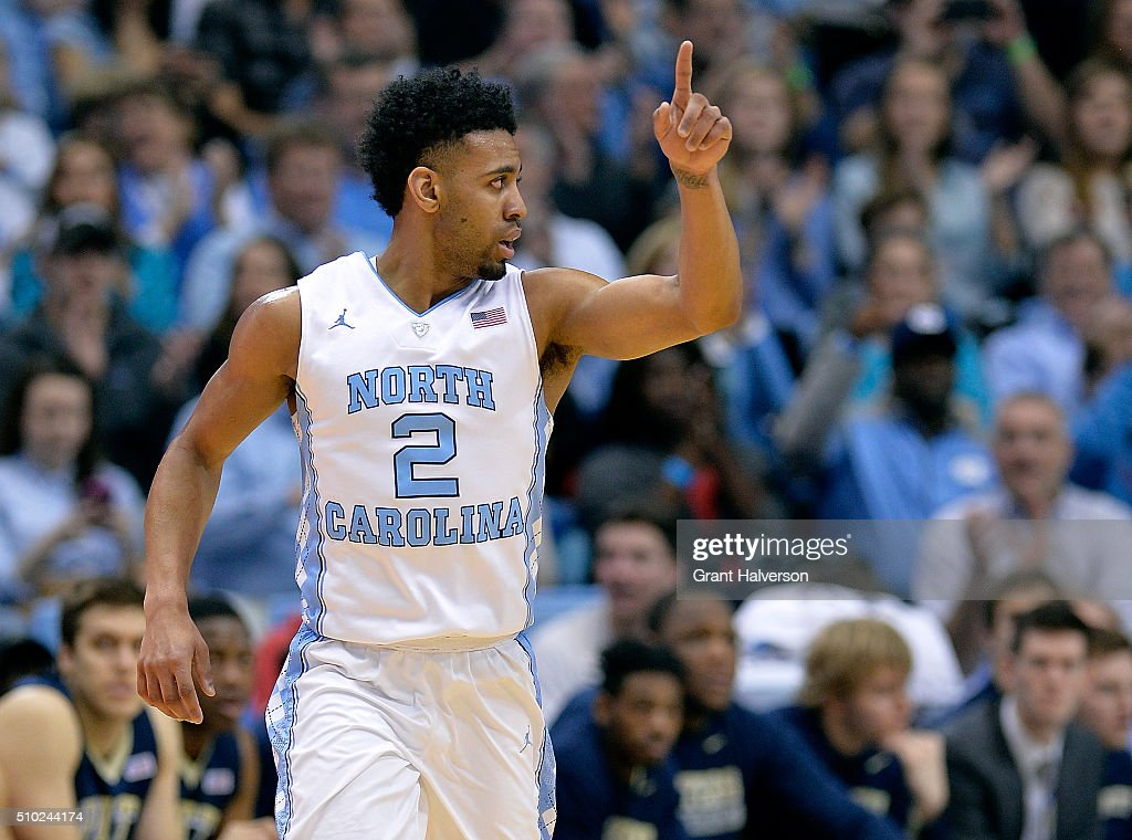 Joel Berry II #2 of the North Carolina Tar Heels reacts after making a three-point basket against the Pittsburgh Panthers during their game at the Dean Smith Center on February 14, 2016 in Chapel Hill, North Carolina.
