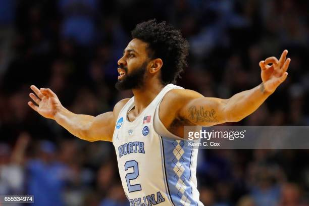 Joel Berry II of the North Carolina Tar Heels reacts in the first half against the Arkansas Razorbacks during the second round of the 2017 NCAA Men's...