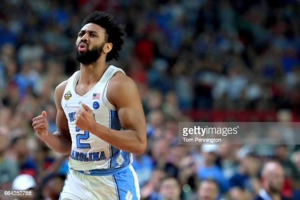 Joel Berry II of the North Carolina Tar Heels reacts in the first half against the Gonzaga Bulldogs during the 2017 NCAA Men's Final Four National...