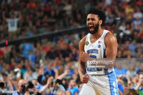 Joel Berry II of the North Carolina Tar Heels reacts in the second half against the Gonzaga Bulldogs during the 2017 NCAA Men's Final Four National...