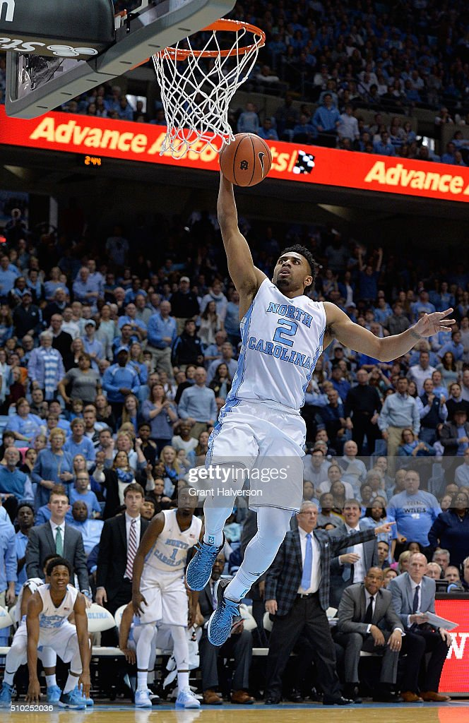 Joel Berry II #2 of the North Carolina Tar Heels scores on a breakaway during their game against the Pittsburgh Panthers at the Dean Smith Center on February 14, 2016 in Chapel Hill, North Carolina. North Carolina won 85-64.