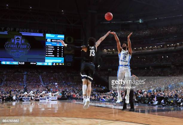 Joel Berry II of the North Carolina Tar Heels shoots against Josh Perkins of the Gonzaga Bulldogs in the second half during the 2017 NCAA Men's Final...