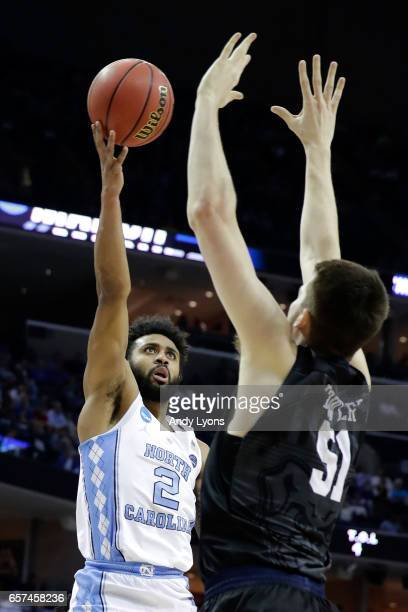 Joel Berry II of the North Carolina Tar Heels shoots against Nate Fowler of the Butler Bulldogs in the first half during the 2017 NCAA Men's...