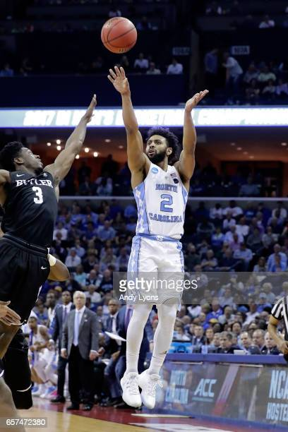 Joel Berry II of the North Carolina Tar Heels shoots in the first half against Kamar Baldwin of the Butler Bulldogs during the 2017 NCAA Men's...
