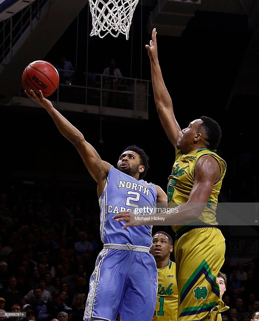 Joel Berry II #2 of the North Carolina Tar Heels shoots the ball against Bonzie Colson #35 of the Notre Dame Fighting Irish at Purcell Pavilion on February 6, 2016 in South Bend, Indiana. Notre Dame defeated North Carolina 80-76.