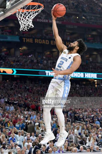 Joel Berry II of the North Carolina Tar Heels shoots the ball during the 2017 NCAA Men's Final Four National Championship game against the Gonzaga...