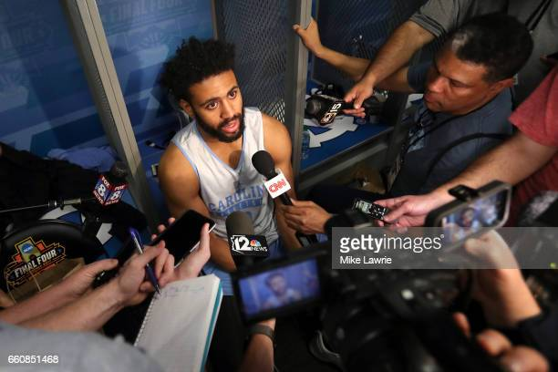 Joel Berry II of the North Carolina Tar Heels speaks during media availability for the 2017 NCAA Men's Basketball Final Four at University of Phoenix...