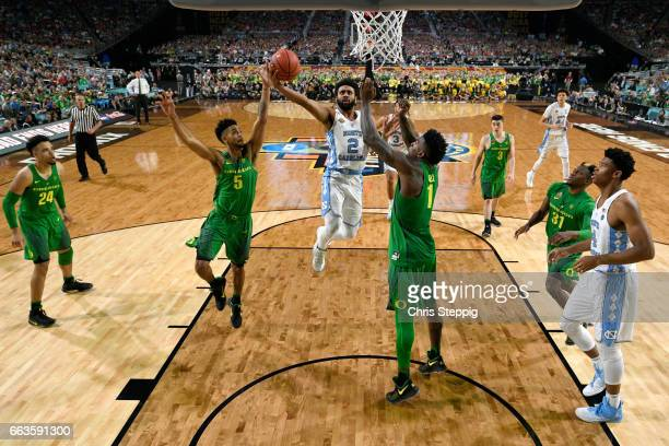 Joel Berry II of the North Carolina Tar Heels takes a shot during the 2017 NCAA Men's Final Four Semifinal against the Oregon Ducks at University of...
