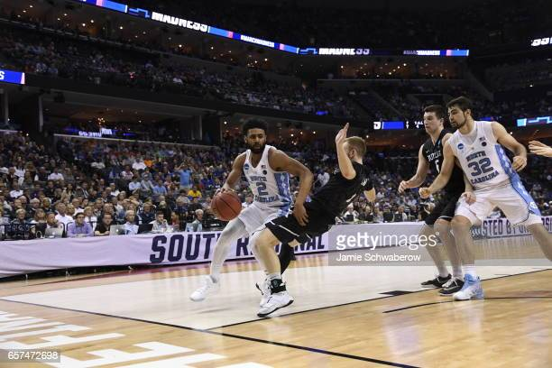 Joel Berry II of the University of North Carolina dribbles against Tyler Lewis of Butler University during the 2017 NCAA Men's Basketball Tournament...