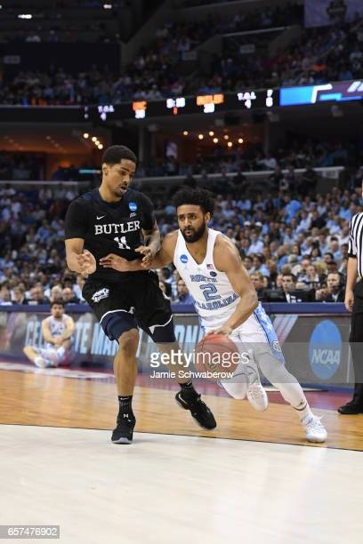 Joel Berry II of the University of North Carolina dribbles against Kethan Savage of Butler University during the 2017 NCAA Men's Basketball...