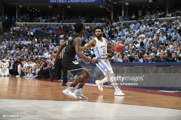 Joel Berry II of the University of North Carolina dribbles up the court against the Butler Bulldogs during the 2017 NCAA Men's Basketball Tournament...