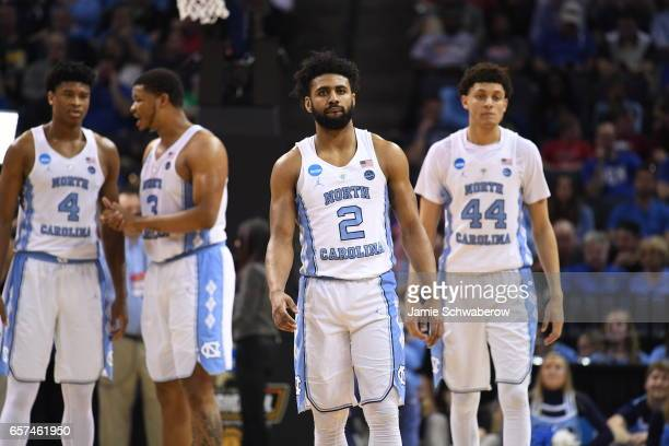 Joel Berry II of the University of North Carolina looks on during a game against the Butler Bulldogs during the 2017 NCAA Men's Basketball Tournament...
