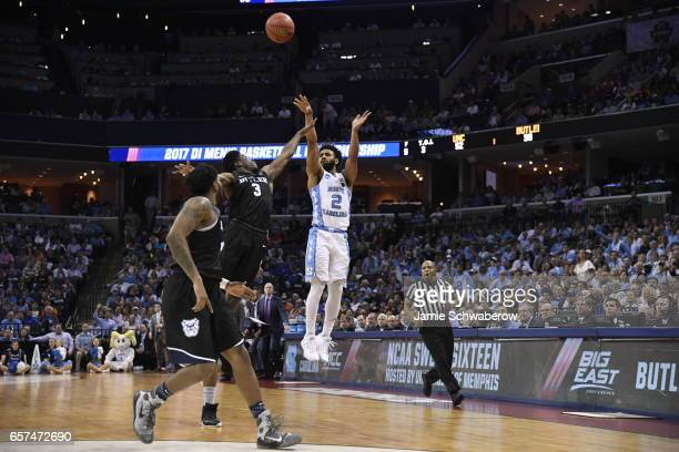 Joel Berry II of the University of North Carolina shoots against Kamar Baldwin of Butler University during the 2017 NCAA Men's Basketball Tournament...