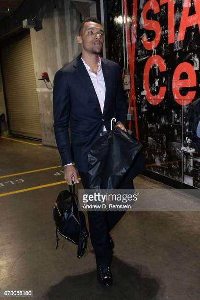 Joel Bolomboy of the Utah Jazz arrives before the game against the LA Clippers in Game Five of the Western Conference Quarterfinals of the 2017 NBA...
