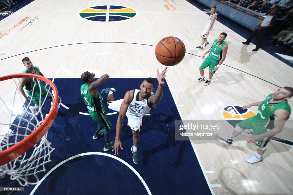 Joel Bolomboy #21 of the Utah Jazz shoots the ball against the Maccabi Haifa during a preseason game on October 4, 2017 at vivint.SmartHome Arena in Salt Lake City, Utah.