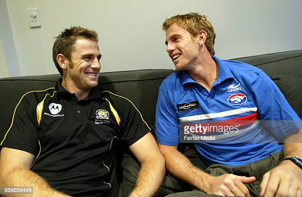 Joel Bowden and Patrick Bowden are pictured at Joel's house in Carlton Tonight Joel and Patrick's two teams Richmond and The Western Bulldogs play...
