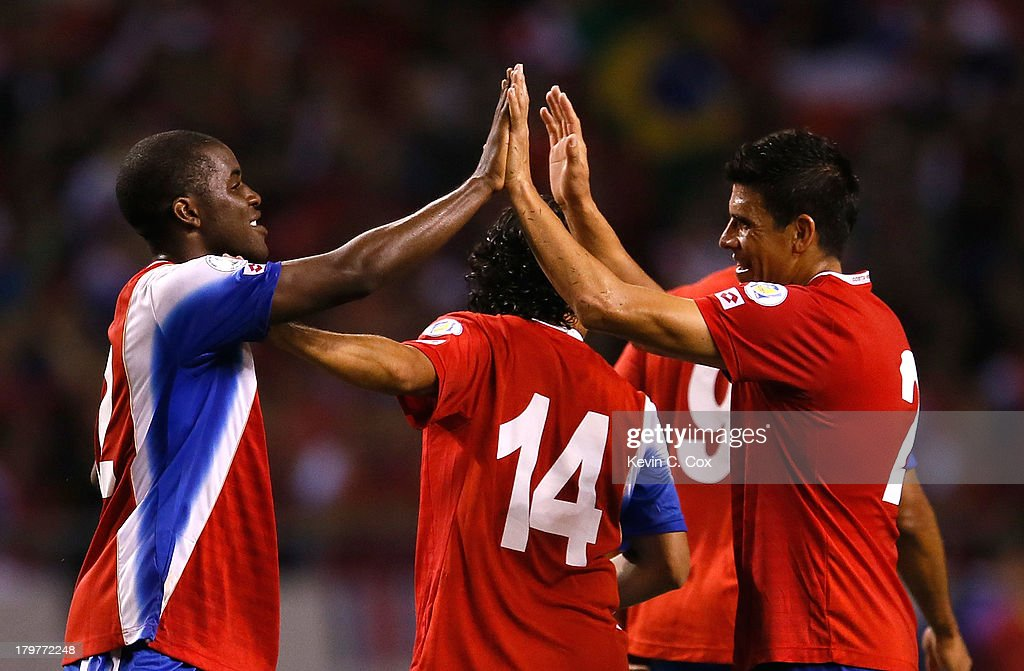 <a gi-track='captionPersonalityLinkClicked' href=/galleries/search?phrase=Joel+Campbell&family=editorial&specificpeople=5832048 ng-click='$event.stopPropagation()'>Joel Campbell</a> #12 and Johnny Acosta #2 celebrate after their 3-1 win over the United States during the FIFA 2014 World Cup Qualifier at Estadio Nacional on September 6, 2013 in San Jose, Costa Rica.