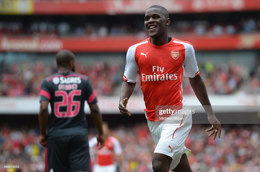 Joel Campbell of Arsenal celebrates scoring during the Emirates Cup match between Arsenal and Benfica at the Emirates Stadium on August 2, 2014 in London, England.
