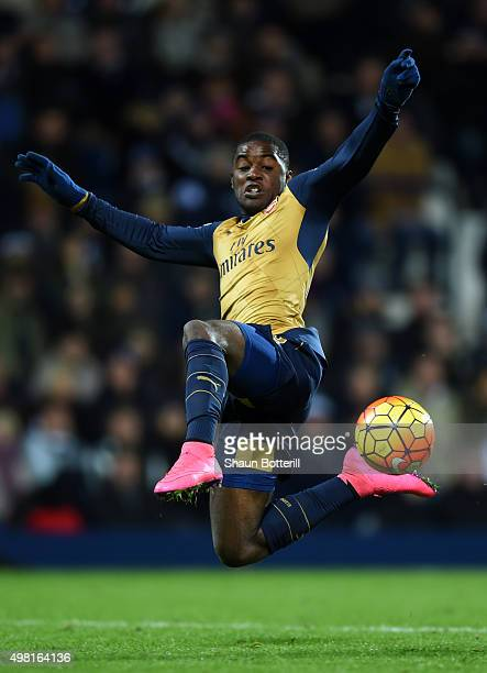 Joel Campbell of Arsenal dives for the ball during the Barclays Premier League match between West Bromwich Albion and Arsenal at The Hawthorns on...