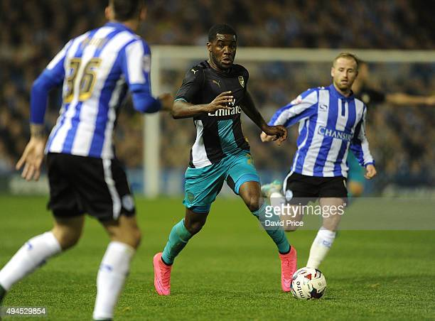 Joel Campbell of Arsenal during the Capital One Cup 4th Round match between Sheffield Wednesday and Arsenal at Hillsborough Stadium on October 27...