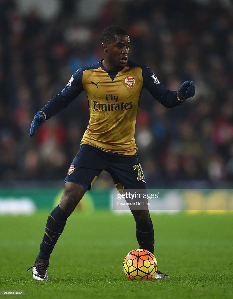 Joel Campbell of Arsenal in action during the Barclays Premier League match between Stoke City and Arsenal at The Britannia Stadium on January 17, 2016 in Stoke on Trent, England.