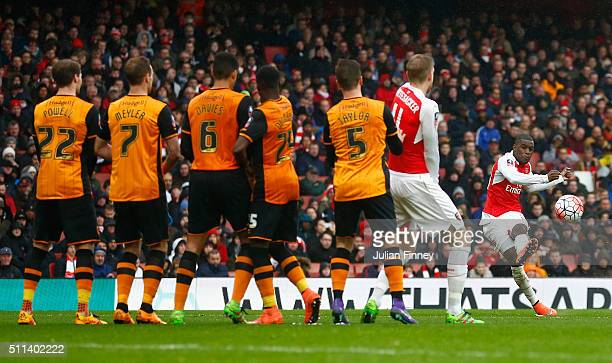 Joel Campbell of Arsenal takes a free kick saved by Eldin Jakupovic of Hull City during the Emirates FA Cup fifth round match between Arsenal and...