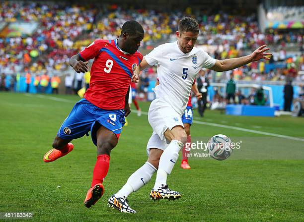 Joel Campbell of Costa Rica challenges Gary Cahill of England during the 2014 FIFA World Cup Brazil Group D match between Costa Rica and England at...