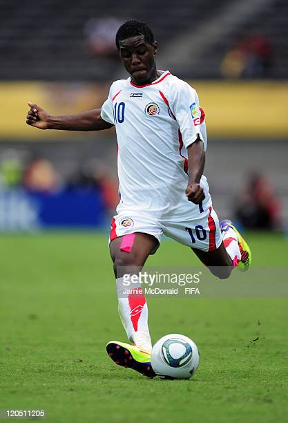 Joel Campbell of Costa Rica in action during the Group C match between Ecuador and Costa Rica at the Estadio Hernan Ramirez Villegas on August 6 2011...
