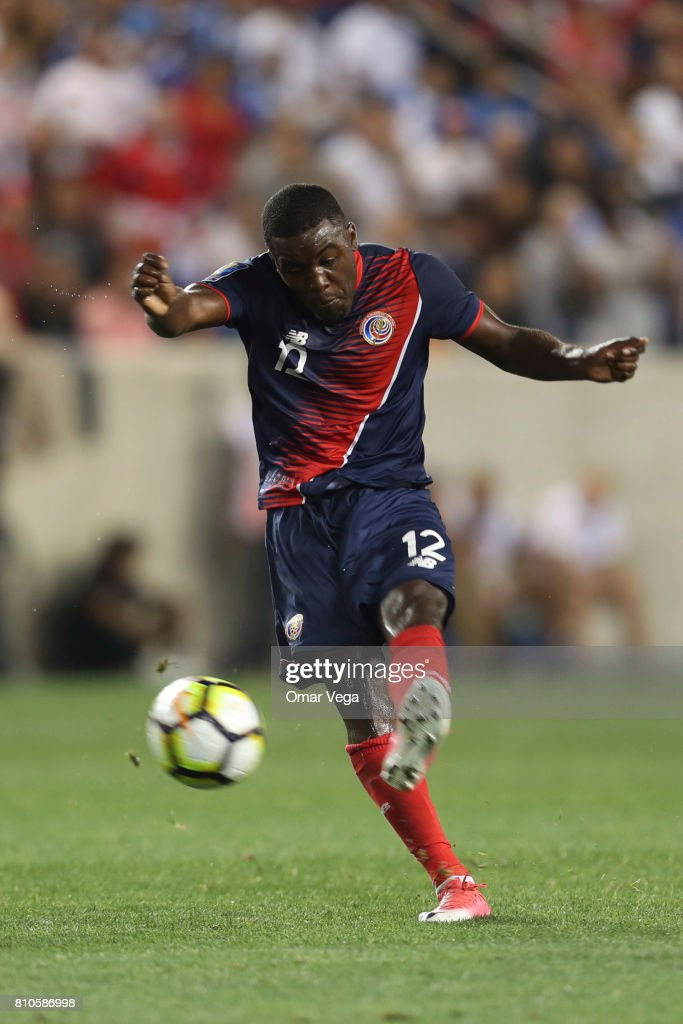 Joel Campbell of Costa Rica kicks the ball during the Group A match between Honduras and Costa Rica as part of the Gold Cup 2017 at Red Bull Arena on July 07, 2017 in Harrison, New Jersey.