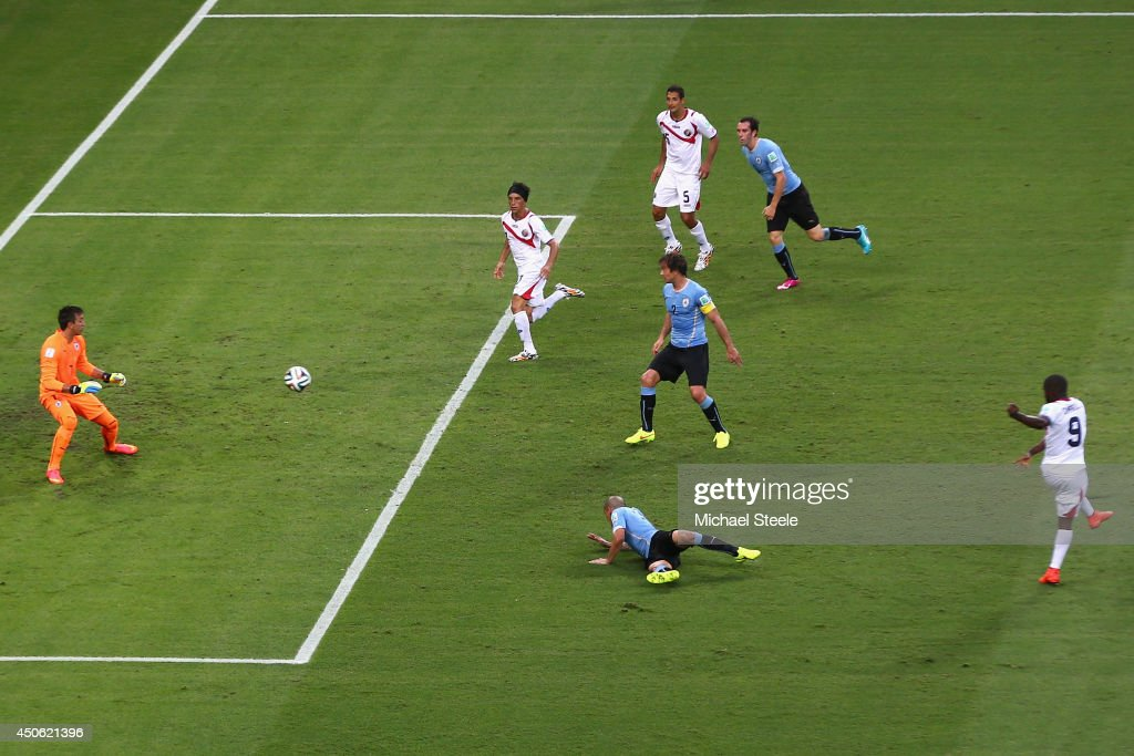 Joel Campbell (#9)of Costa Rica scores the equalising goal at Castelao on June 14, 2014 in Fortaleza, Brazil.