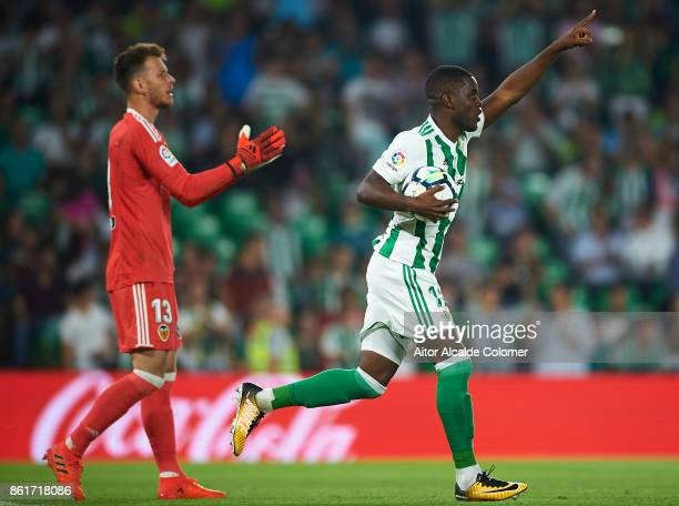 Joel Campbell of Real Betis Balompie celebrates after scoring during the La Liga match between Real Betis and Valencia at Estadio Benito Villamarin...
