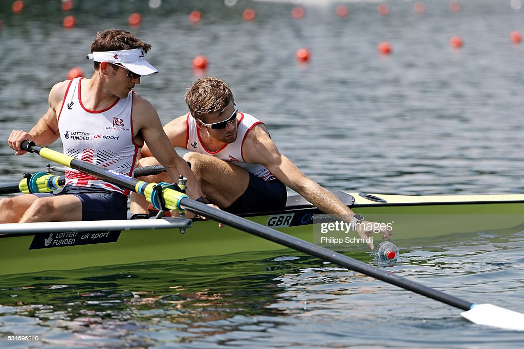 Joel Cassells (R) and Sam Scrimgeour of Great Britain compete in the Lightweight Men's Pair heats during day 1 of the 2016 World Rowing Cup II at Rotsee on May 27, 2016 in Lucerne, Switzerland.