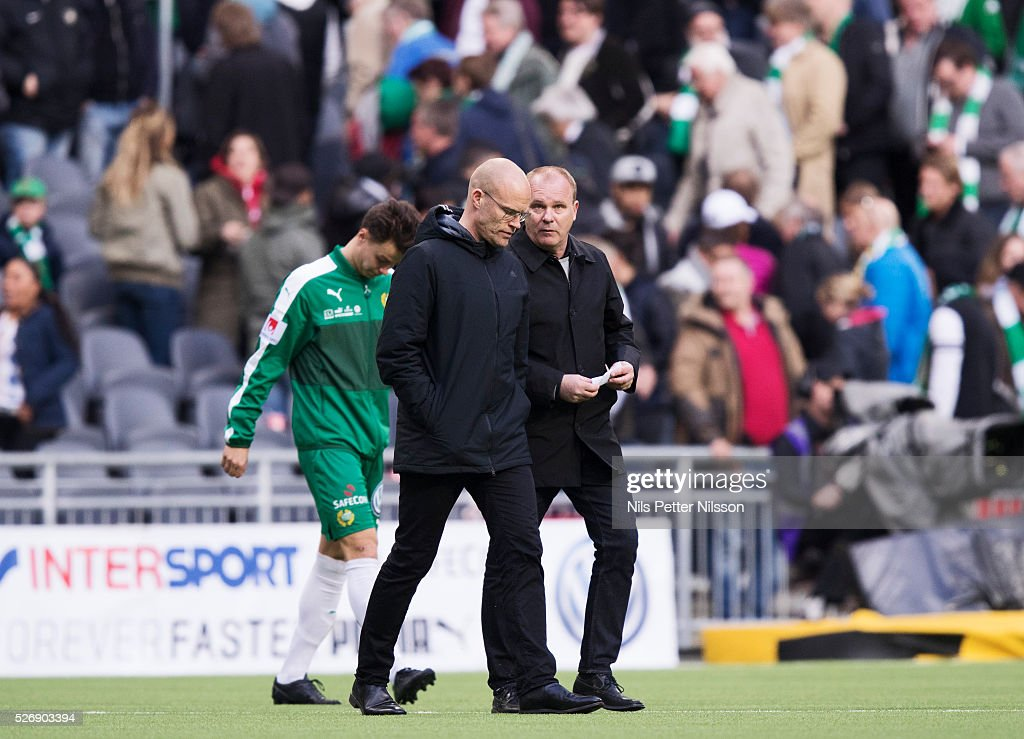 Joel Cedergren head coach of GIF Sundsvall and Roger Franzen of GIF Sundsvall during the Allsvenskan match between Hammarby IF and GIF Sundsvall at Tele2 Arena on May 1, 2016 in Stockholm, Sweden.