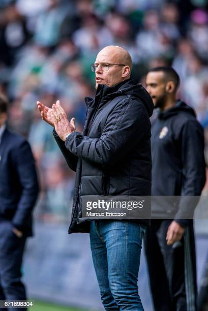 Joel Cedergren head coach of GIF Sundsvall applause his players during the Allsvenskan match between Hammarby IF and GIF Sundsvall at Tele2 Arena on...