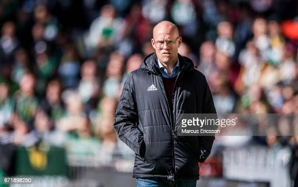 Joel Cedergren head coach of GIF Sundsvall during the Allsvenskan match between Hammarby IF and GIF Sundsvall at Tele2 Arena on April 23 2017 in...