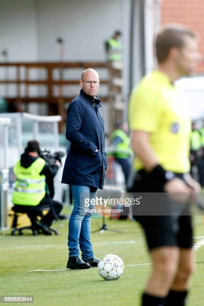 Joel Cedergren head coach of GIF Sundsvall during the Allsvenskan match between GIF Sundsvall and IFK Goteborg at Idrottsparken on May 22 2017 in...