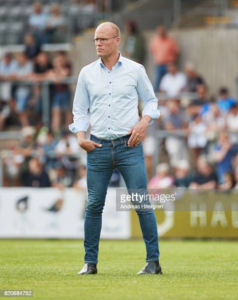 Joel Cedergren head coach of GIF Sundsvall during the Allsvenskan match between Halmstad BK and GIF Sundsvall at Orjans Vall on July 22 2017 in...