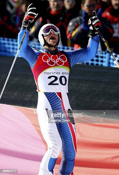 Joel Chenal of France celebrates winning silver in the Mens Alpine Skiing Giant Slalom competition on Day 10 of the 2006 Turin Winter Olympic Games...