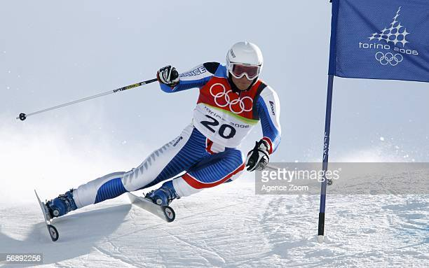 Joel Chenal of France competes in the Mens Alpine Skiing Giant Slalom competition on Day 10 of the 2006 Turin Winter Olympic Games on February 20...